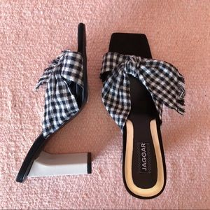 Jaggar Gingham Bow Tie Mules